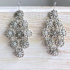 Silver Cascading Flower Rhinestone Drop Earrings